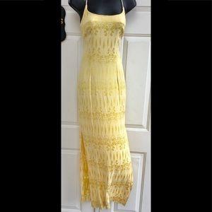 Nicole Miller Yellow Bohemian Print Maxi Dress 4